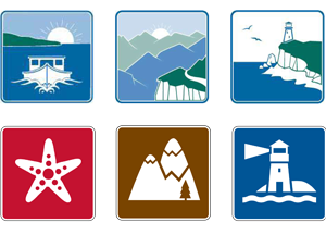 Scenic drive roadside attraction symbols