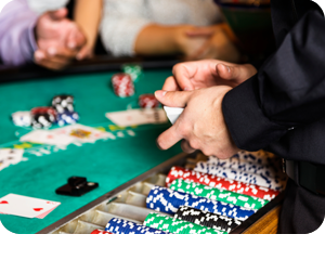 Casino dealer with back injury